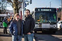 PORTLAND TRIBUNE: JONATHAN HOUSE - John Carr, right, and Doug Allen at a bus stop on Southeast 82nd Avenue and Division Street. The two are pressing TriMet to adopt alternative-energy buses.