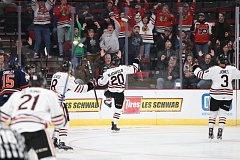 COURTESY: BRYAN HEIM/PORTLAND WINTERHAWKS - Portland Winterhawks forward Joachim Blichfeld celebrates his goal against the Kamloops Blazers, the first of the game Tuesday at Moda Center.