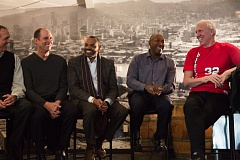 TRIBUNE PHOTO: ADAM WICKHAM - Returning Trail Blazers from the 1976-77 NBA champs included (from left) Larry Steele, Bob Gross, Lionel Hollins, Johnny Davis and Bill Walton.