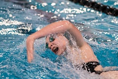 NEWS-TIMES PHOTO: CHASE ALLGOOD - Forest Groves Louise Brenner wins the 200-yeard freestyle race during the Vikings swim meet against McMinnville Thursday 01-26-17.