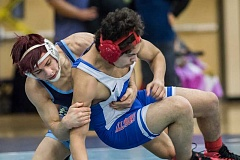 HILLSBORO TRIBUNE PHOTO: CHASE ALLGOOD - Libertys Ethan Wendell takes down Hillboros Wilfredo Peraza-Nava during last Wednesdays round robin tournament at Liberty High School.