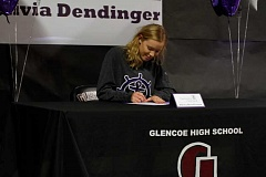 HILLSBORO TRIBUNE PHOTO: WADE EVANSON - Glencoe's Olivia Dendinger signs her letter of intent to the University of Portland at Glencoe High School, Jan. 30.