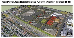 SUBMITTED GRAPHIC - This graphic suggests how the undeveloped area around the Cornelius Fred Meyer could have a future that includes housing, retail, commercial and high-tech developments.