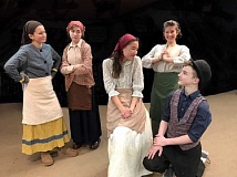 SUBMITTED PHOTO: JOE THEISSEN - The cast runs through a scene for Fiddler on the Roof, which runs Feb. 9-11 at Lake Oswego Junior High School. From left: Cassidy Miller (Yente), Ellie DeVine (Golde), Emily Joyce (Tzeitel), Chanel White (Hodel) and Preston Barlow (Motel).