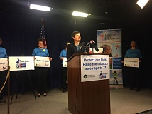PARIS ACHEN/PORTLAND TRIBUNE - Sen. Elizabeth Steiner Hayward, D-Beaverton, announces legislation that would raise the legal smoking age to 21, during a news conference Wednesday, Feb. 1, 2017, at the State Capitol in Salem.