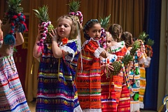 TIMES PHOTO: JONATHAN HOUSE - Bridgeport students in the Latin Dance Club perform 'Baile de la Pina' during the Festivals of the World celebration.