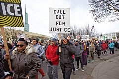 TRIBUNE PHOTO: JAIME VALDEZ - On Saturday people took to the streets in Northeast Portland for the March for Justice and Equality organized by the Albina Ministerial Alliance.