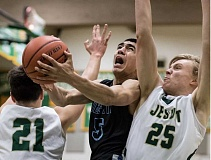 HILLSBORO TRIBUNE PHOTO: CHASE ALLGOOD - Libertys David Vasquez takes a layup during the Falcons 71-32 loss to Jesuit Thursday 02-02-17.