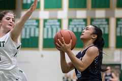 HILLSBORO TRIBUNE PHOTO: CHASE ALLGOOD - Libertys Danielle Llamas drives to the hoop during the Falcons 40-29 loss to Jesuit Thursday 02-02-17.