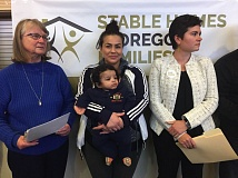 PARIS ACHEN - Sen. Laurie Monnes Anderson, D-Gresham, St. Johns resident Coya Crispin and her 5-month-old son, and Rep. Karin Power, D-Milwaukie, speak during a tenants forum in Northeast Portland Saturday, Feb. 4, 2017, at Highland Christian Center.