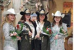 SUBMITTED PHOTO - The new Jefferson County Fair and Rodeo Court Queen Emily Arrant, second from left, and Princess Stephanie Haynes, are crowned by last year's royalty Janna Davis, far left, and Riann Cornett, far right.