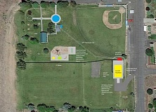 SUBMITTED PHOTO/ILLUSTRATION - The new pavilion at the Culver Veterans Memorial Park will be located on the east side of the park (at right), just south of the ball fields, and include a restroom, and other features.