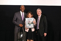 FILE PHOTO BY JAIME VALDEZ - One of last year's Amazing Kids honorees, along with Trail Blazer great Terry Porter and Mark Garber of Pamplin Media Group.