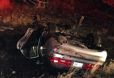 PHOTO COURTESY OF CCSO - This vehicle rolled after slid off of Juniper Canyon Road Thursday evening.
