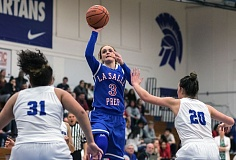 HILLSBORO TRIBUNE PHOTO: CHASE ALLGOOD - La Salle Prep's Taycee Wedin (here against Hillsboro) and the Falcons are the top-ranked Class 5A team in the state again this week.