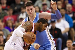 TRIBUNE FILE PHOTO: JAIME VALDEZ - New Trail Blazers center Jusuf Nurkic defends former Portland star LaMarcus Aldridge in a 2015 game. The Blazers will get Nurkic from Denver for Mason Plumlee and an exchange of draft picks that gives Portland another first-round selection in 2017, sources said Sunday.