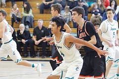 HILLSBORO TRIBUNE PHOTO: WADE EVANSON - Century's Farhad Heidar posts-up during the Jaguars' game with Beaverton Feb. 11 at Century High School.