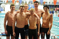 SPOTLIGHT PHOTO: JAKE MCNEAL - The Indians boys' 400-yard freestyle relay team -- back row, from left, freshman Bryant Sharp, junior Will Harley, senior Austin Sharp and junior Brannigan Vogt and front row, from left, alternates Quincy Reynolds and Nash Wilson -- carries the 10th seed into the Class 4A/3A/2A/1A state preliminaries on Friday at the Mt. Hood Community College Aquatic Center in Gresham.