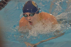 HERALD PHOTO: COREY BUCHANAN - Canby swimmer Michael Haring captured two district titles at the Three Rivers League District Meet.