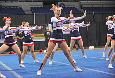 REVIEW PHOTO: VERN UYETAKE - LOHS cheer leaders showcase their moves at state on Saturday.