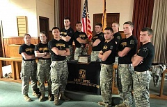 SUBMITTED PHOTO - Sean Leriche, far left in back row, stands with Gonzaga University teammates, who were named the best ROTC Ranger Challenge Team on the West Coast.