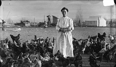 SUBMITTED PHOTO - Cora Luelling feeds her flock of chickens around 1908 at what is now the Klann family farm. As an early-