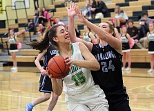 TIDINGS PHOTO: MILES VANCE - West Linn's Daria Ruediger works for a shot in her team's 74-33 win over Lakeridge on Tuesday at West Linn High School.