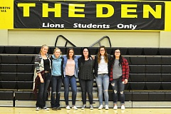 SPOTLIGHT PHOTO: JAKE MCNEAL - From left, McKayla Foster, Myranda Northrop, Morgan Bingaman, Quinlynn Coddington, Kaela Lee and Madisyn Flores turned in their Lions girls' basketball jerseys, citing persistent verbal abuse from coach Billy McKinney, who could not be reached for comment, on Friday, Feb. 10.