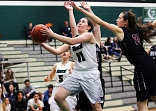 DAN BROOD - Tigard sophomore Paige LaFountain goes to the basket during the Tigers' win over Tualatin.