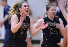 OUTLOOK PHOTO: DAVID BALL - Damascus Christian point guard Savannah Sullivan celebrates after the horn sounded in the Eagles 53-49 win over Country Christian in the Valley 10 title game Thursday night.
