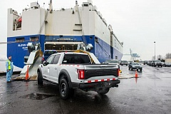 COURTESY: PORT OF PORTLAND - A recent study showed that for the first time in the Ports history, the Port of Portland was the west coasts no. 1 auto exporter. These Ford trucks are on their way to overseas markets.