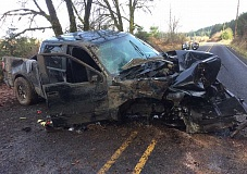 SUBMITTED PHOTO: WASHINGTON COUNTY SHERIFF'S OFFICE - A 2007 Ford truck crashed on Southwest Fern Hill Road in Forest Grove Friday morning, injuring a male driver and his female passenger. Washington County Sheriff's deputies said the driver's blood-alcohol content was more than three times the legal limit.