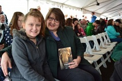 PHOEBE FLANIGAN/OPB - Debbie and Skylar Choruby came to the Oregon Zoo on Saturday to remeber Packy.