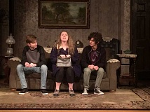 CONTRIBUTED PHOTO - Robbie Cantrell (left, who plays the elder son, Jay), Emma Stewart (Aunt Bella) and Samuel Smith (younger son, Arty) rehearse for Barlow High's production of 'Lost in Yonkers.'