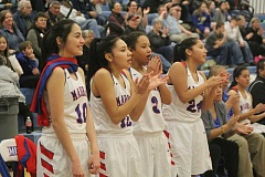 WILL DENNER/MADRAS PIONEER - With the game well in hand in the fourth quarter, Madras starters (from left) Annie Whipple, Lynden Harry, Kaliyah Iverson, Jiana Smith-Francis and Jackie Zamora were able to cheer on their teammates from the bench.