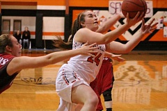 PIONEER PHOTO: CONNER WILLIAMS - Molalla senior Audrey Rieskamp goes in for a layup during the Indians' 59-52 win over Corbett on senior night Tuesday.