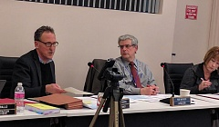 Philip Griffin (far left), attorney for the Columbia River PUD, explains the process for moving forward with a special election vote to annex additional ratepayers into the PUD's voting boundary during a meeting Feb. 21. To the right, Directors Rob Mathers and Debbie Reed.