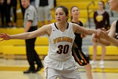 NEWS-TIMES PHOTO: WADE EVANSON - Forest Grove's Kinsey Barnett defends during the Vikings' game versus Sprague Feb. 21 at Forest Grove High School.
