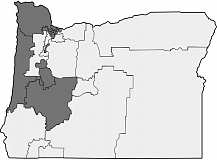 COURTESY WIKIMEDIA/OREGON STATE SENATE - Oregon State Senate districts, shown by blue Democrats and red Republicans.