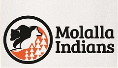 MRSD - LOGO A: The Grizzly and Coyote are integral to the Molalla people and are symbolically juxtaposed with one another. The stylized trees portrayed as stacked triangles represent both fir trees and the Molalla people - views in color and black and white.
