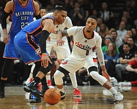 TRIBUNE PHOTO: JOSH KULLA - Oklahoma City's Russell Westbrook (45 points) and Portland's Damian Lillard (33) combined for 78 points in the Blazers' 114-109 victory Thursday night at Moda Center.