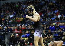 DAN BROOD - Sherwood High School sophomore Gaven Jolley lets out a yell after winning the 120-pound state championship match on Saturday.