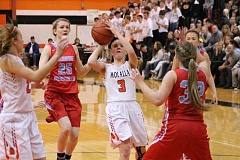PIONEER PHOTO: CONNER WILLIAMS - Molalla junior Sierra Cox pulls up for a shot during the Indians' 38-31 loss in the first round of the Class 4A playoffs at home last Saturday.