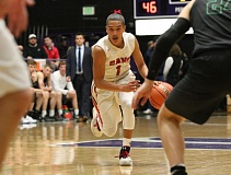 REVIEW/NEWS PHOTO: JIM BESEDA - Clackamas' Elijah Gonzales led all scorers with 31 points in Wednesday's OSAA Class 6A boys' basketball quarterfinal win over West Salem at the Chiles Center.
