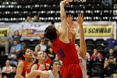 HILLSBORO TRIBUNE PHOTO: WADE EVANSON - Hilhi's Makenna Gambee goes up for a shot during the Spartans state tournament game March 8, at Gill Coliseum.