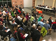 PHOTO BY DANA HAYNES - An estimated 150 people attended Thursday's town hall at Beaverton High School. Not surprisingly, a large number of them turned out to be educators and students.