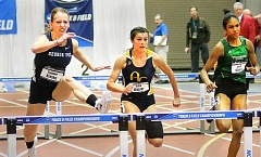 PHOTO COURTESY OF RYAN COLEMAN - George Fox graduate student Rachel Kraske won the 60-meter hurdles Friday at the NCAA Division III indoor track and field national championships to lead the Bruins to a best-ever third-place finish as a team.