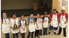 SARA ROGERS PHOTO - Cook-off winners, from left, Mary Amborn, Tatiana Felix and Sophia Pulido, from Culver, pose with fellow competitors Ethan Benham, Melissa Baldwin, Perla Cohetzaltitla, and Weslie Thomas, from JCMS, and Milan Clement and Jason Tohet Jr, from Warm Springs K-8 Academy.