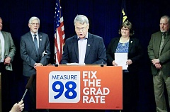 CONTRIBUTED PHOTO: SENATE REPUBLICANS - Sen. Chuck Thomsen, R-Hood River, appeals to lawmakers to fund Measure 98 endeavors.