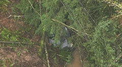 KOIN 6 NEWS PHOTO - A car was buried in a landslide on West Burnside Street on Wednesday morning. The road and two others through the West Hills are closed due to debris.